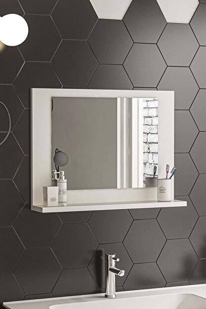 bluecape Beyaz Raflı Antre Hol Koridor Duvar Salon Mutfak Banyo Wc Ofis Çocuk Yatak Odası Aynası  60x45