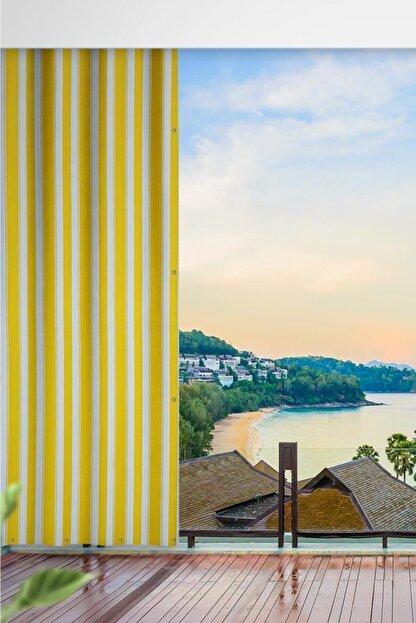 ALTINPAMUK 500x200 Balkon Perdesi Balkon Brandası Sarı Beyaz Kuşgözlü
