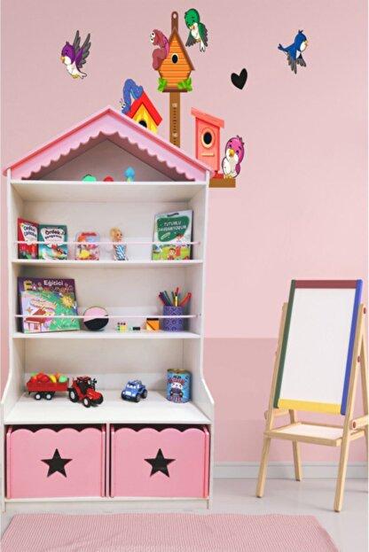 MONTESEV Kitaplık Raf Çocuk Bebek Odası Oyun Evi Oyuncak Kutusu Dolabı Sepeti Ahşap Montessori