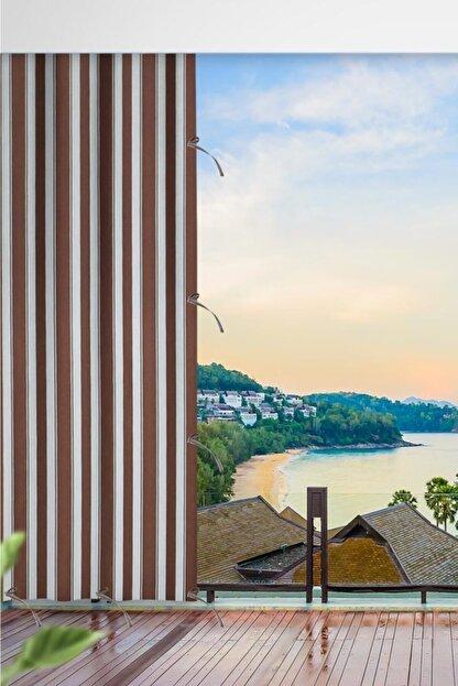 ALTINPAMUK Her Ölçüde Enxboy Seçenekli Bağcıklı Balkon Perdesi Balkon Brandası Kahve Beyaz