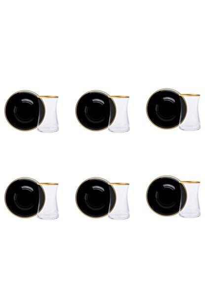 Paşabahçe Renkli Cam Heybeli Yaldız Siyah Tabaklı 12 Parça Çay Seti