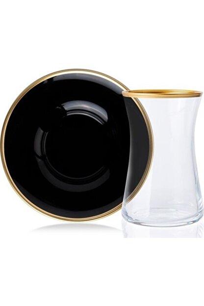 Paşabahçe Renkli Cam 12 Parça Yaldız Cam Çay Bardak Takımı Siyah-gold