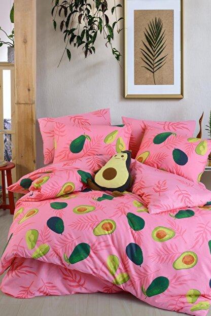 Fushia Avocado Pink %100 Pamuk Tek Kişilik Avakado Nevresim Seti