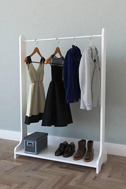 MONTANA Tek Raflı Ayaklı Portmanto Askılık, Konfeksiyon Elbise Askısı Beyaz