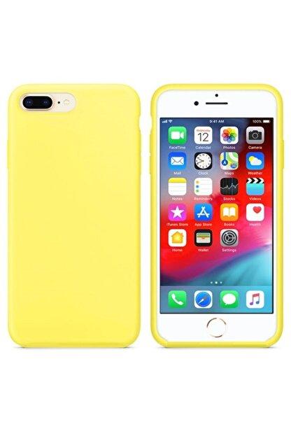 Zengin Çarşım Apple Iphone 7 Plus - 8 Plus Içi Kadife Lansman Silikon Kılıf Sarı