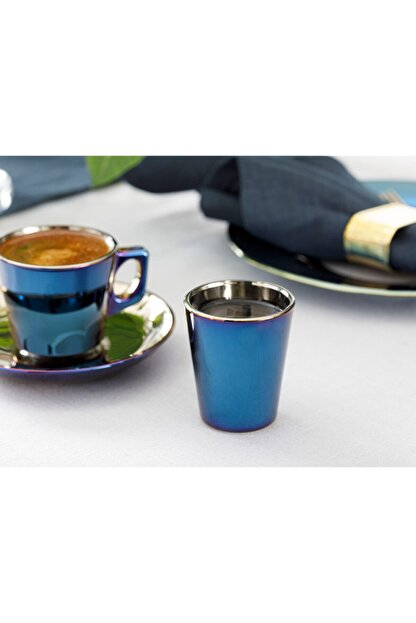 English Home Jade Cam 6'lı Kahve Yanı Su Bardağı 45 Ml Mavi - Lacivert