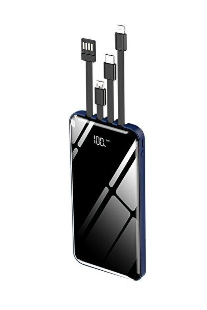 İntouch 10.000 Mah Prime Dijital Göstergeli Dahili Çoklu Kablolu Powerbank,mavi