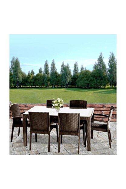 Violet Bahçe Mutfak Masa Takımı Camlı Mutfak Masa Sandalye Takımı 6 Sandalyeli