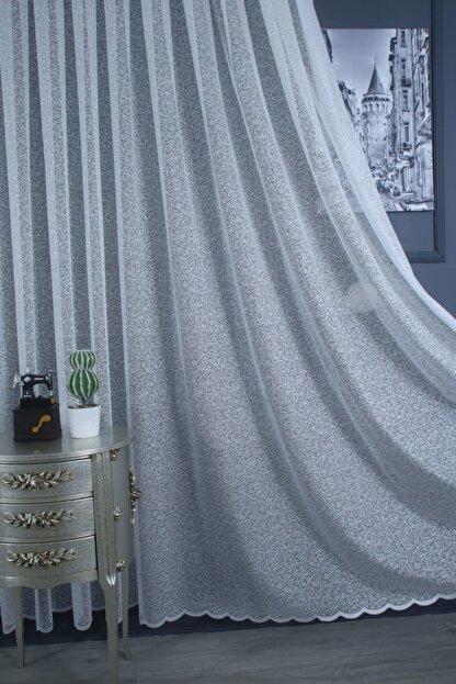 PERDECITY Kum Desen Jakar Tül Perde 1/2 Seyrek Pile 300x260 cm