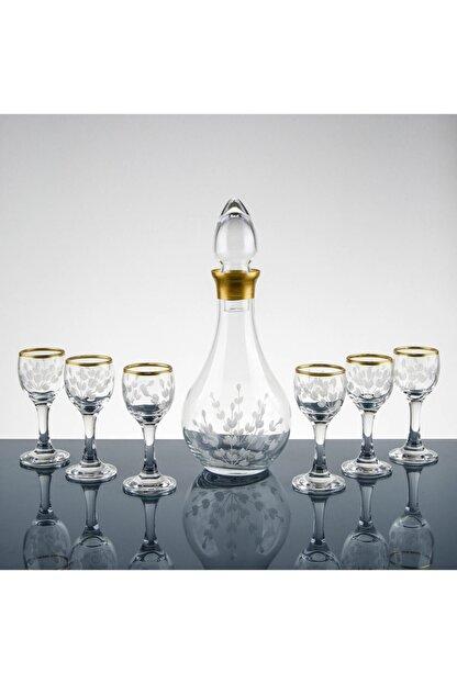 Pasajçeyiz Altın Yaldızlı Kesme Dekor Likör Zemzem Şerbet Bardağı Takımı Seti