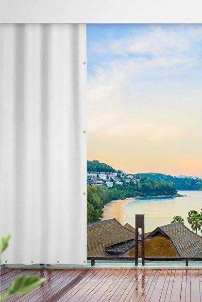 ALTINPAMUK Her Ölçüde Enxboy Seçenekli Kuşgözlü Balkon Perdesi Balkon Brandası Beyaz-