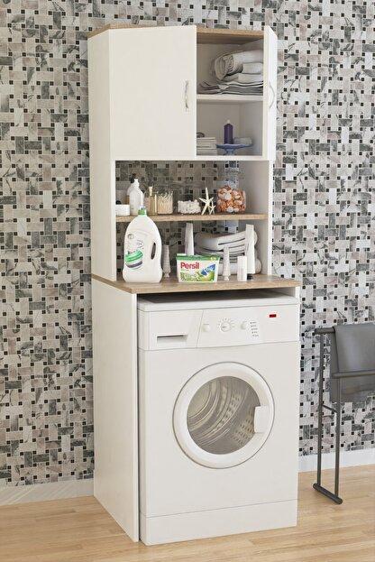 Aeka Ae-2042 Solo Çamaşır Makinesi Dolabı, Banyo Dolabı, 4 Raflı, Kapaklı, Beyaz Dolap