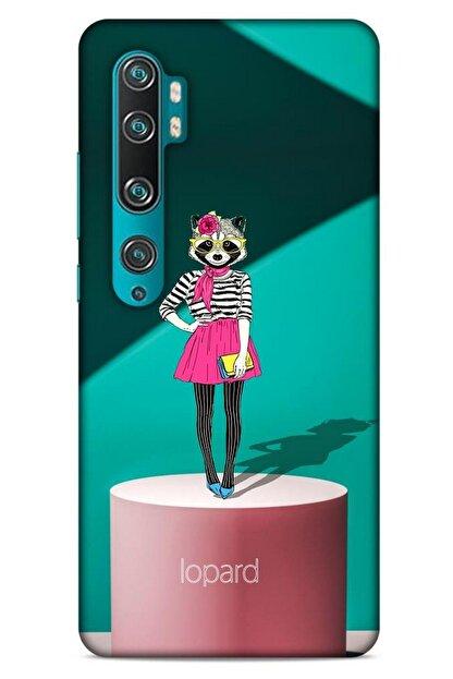 Lopard Xiaomi Mi Note 10 Pro Kılıf Funnymax (10) Full Koruma Kılıfı Yeşil Pembe