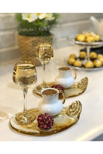 Tavcam Kahve Sunum Tabağı - Bal