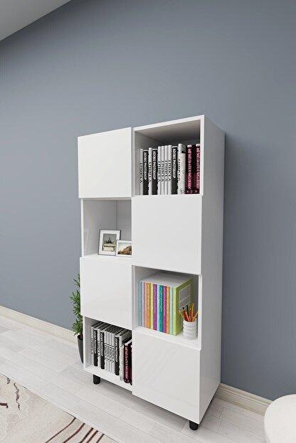 ROSETTE Beyaz Kapaklı Modern Kitaplık