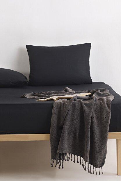 Enlora Home %100 Doğal Pamuk DüzRenk Lastikli Çarşaf+Yastık Seti Çift Kişilik FreshColor Siyah