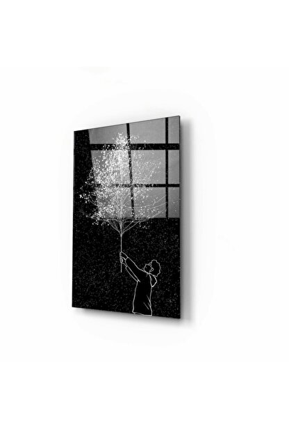 Pi Dekorasyon Ağaç Cam Tablo 50x70 Cm