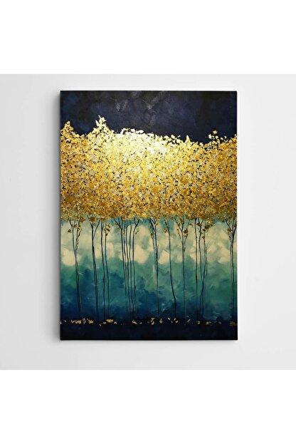 Dekolata Altın Yapraklar Modern Sanat Kanvas Tablo 20 X 30 cm