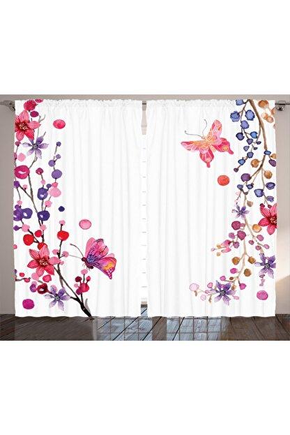 Orange Venue Çiçekli Perde Çiçek Ve Kelebek