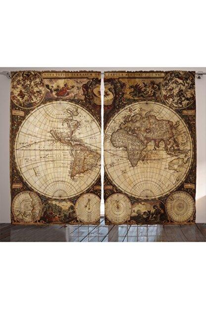 Orange Venue Haritalar Perde Antik Dünya Haritası Rengirenk