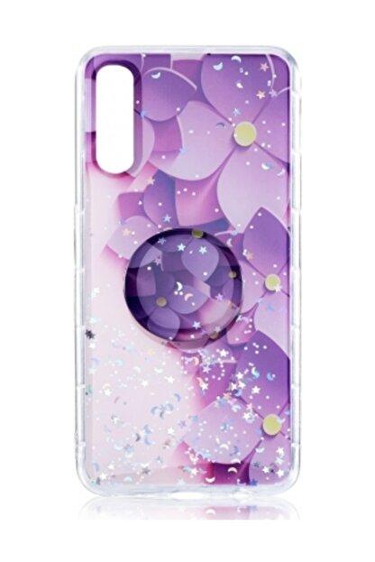 Zore Samsung Galaxy A30s Kılıf Standlı Pop Soketli Silikon Vale Kapak - Mor
