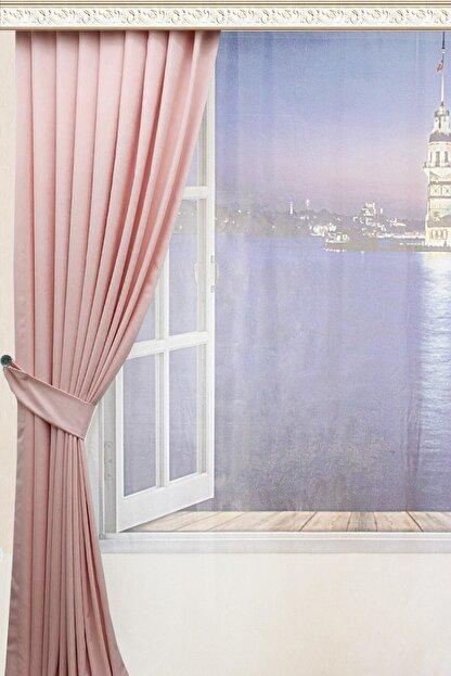 Taç Pileli Fon Perde Soft Kumaş - Pudra 60x260 cm