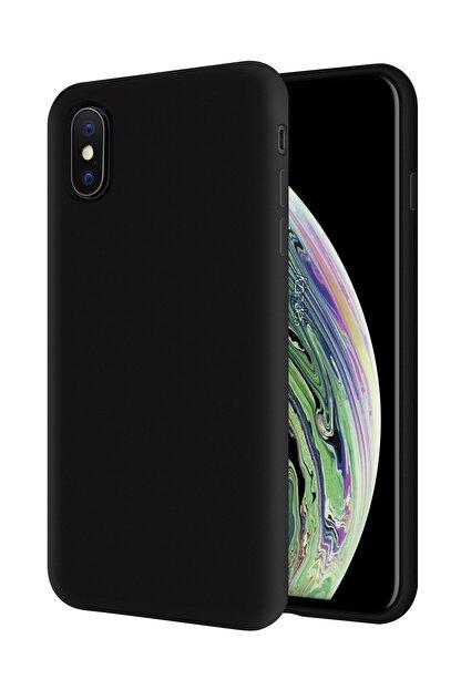 sepetzy Apple Iphone Xs Kılıf Pastel Içi Kadife Liquid Candy Flat Kapak - Siyah