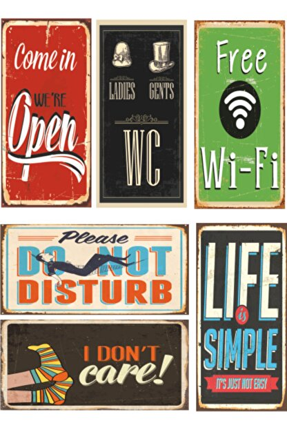 Hayat Poster 6lı Retro Ahşap Poster Seti-3