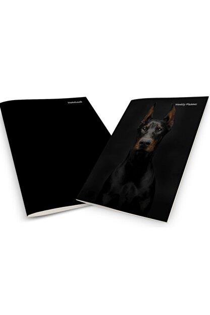 Pelikan Yayınları Black Doberman Dog On A Black Background Weekly Planner & Notebook