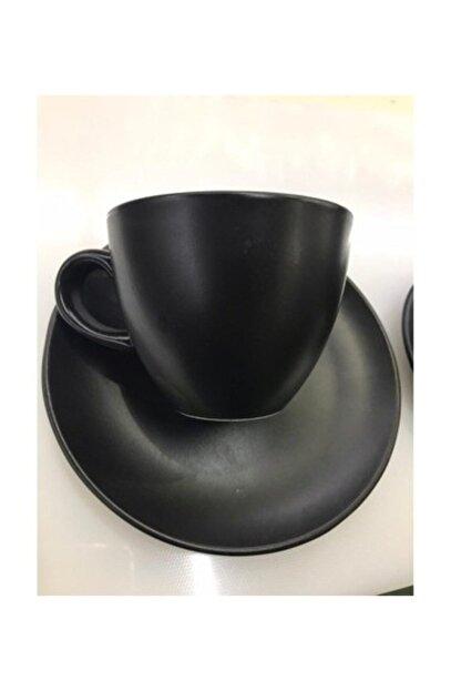 Güral Porselen Bistro Mat Siyah Çay Neskafe Fincanı 150 Cc 6lı