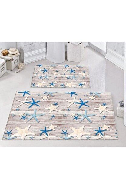 Areomoda Rengarenk Deniz Yıldızı 2'li Kaymaz Banyo Klozet Takımı Paspas 0286