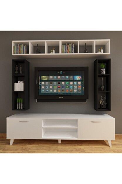 Dekormer Design Tv Ünitesi Dolaplı Siyah Beyaz 180 Cm Ve Kitaplık
