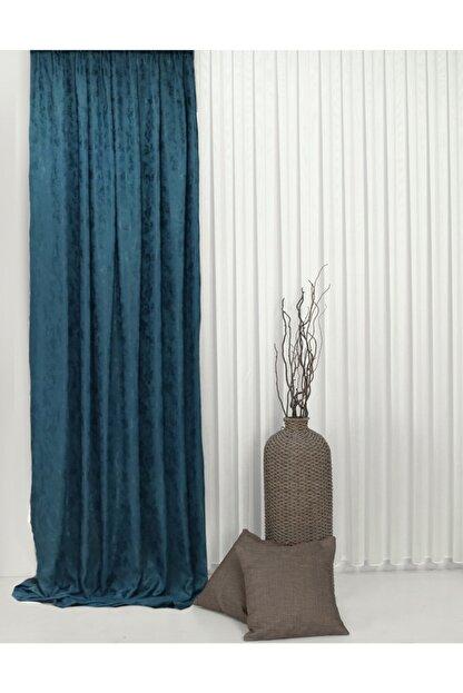 Brillant Mavi Dokuma Desenli Tasarım Ekstrafor Büzgü Fon Perde 150x269