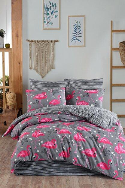 Fushia Flamingo Grey %100 Pamuk Çift Kişilik Nevresim Takımı