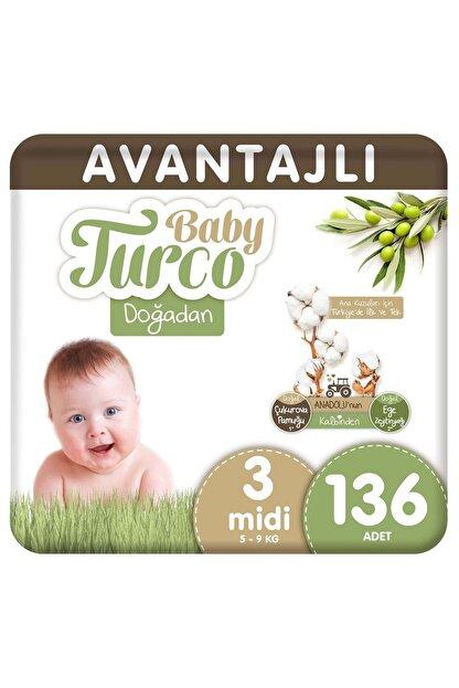 Baby Turco Doğadan Avantajlı Bebek Bezi 3 Numara Midi 136 Adet