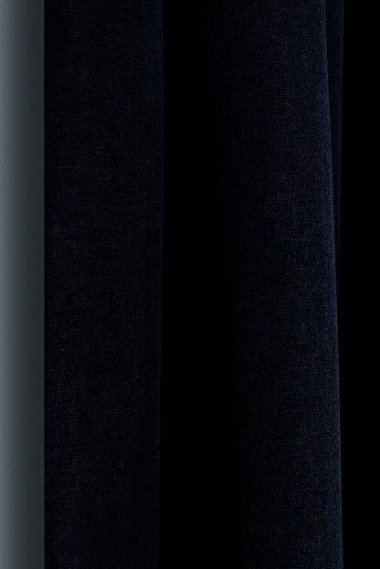 Belle Cose Keten Görünümlü Blackout Karartma Termal Lacivert Fon Perde Tek Kanat