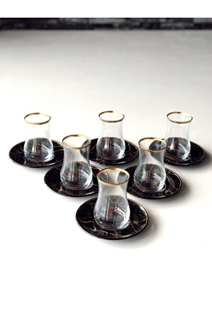 GÜRCÜGLASS Siyah Mermer 12 Prç Çay Seti