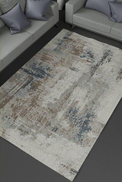 KuleliStore Beyaz Mavi Kaymaz Taban Dekoratif Baskılı Halı Kilim Deri Taban Modern Vintage Kaydırmaz Halı