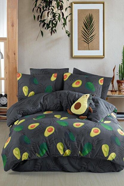 Fushia Avocado Dark %100 Pamuk Tek Kişilik Avakado Nevresim Takımı