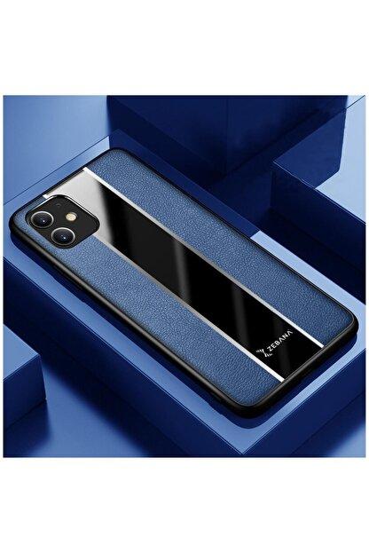 Dara Aksesuar Iphone 11 Uyumlu Mavi Premium Deri Telefon Kılıfı