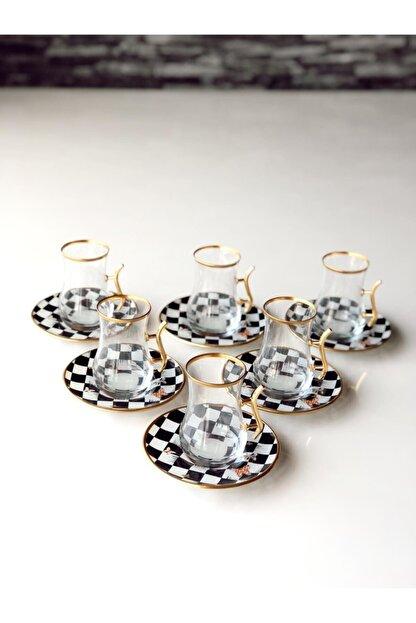 GÜRCÜGLASS Damalı Çay Seti Kulplu 12 Prç
