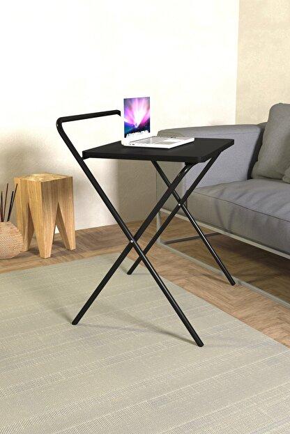 Tedarikcenter Laptop Masası Katlanabilir Çalışma Masası Koltuk Sehpası 52x41 Cm Masa - Siyah