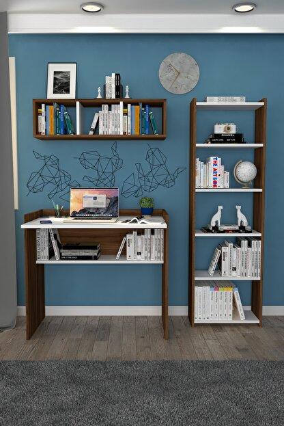 Moonlife Elmas Çalışma Masası Kitaplık Duvar Raflı Beyaz Ceviz