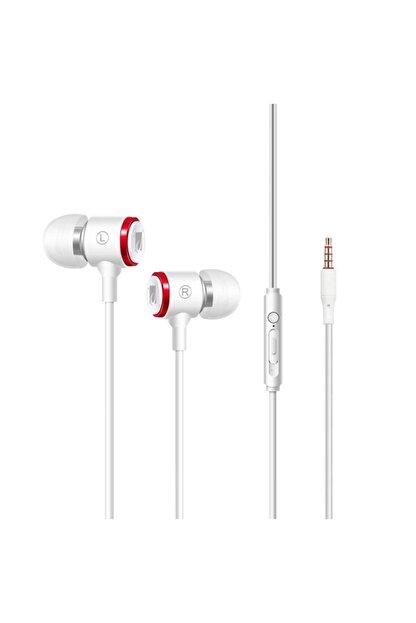 JABRON Beyaz Jb-19 Pro Mikrofonlu Kablolu Kulak Içi Kulaklık ve Özel Taşıma Çantası