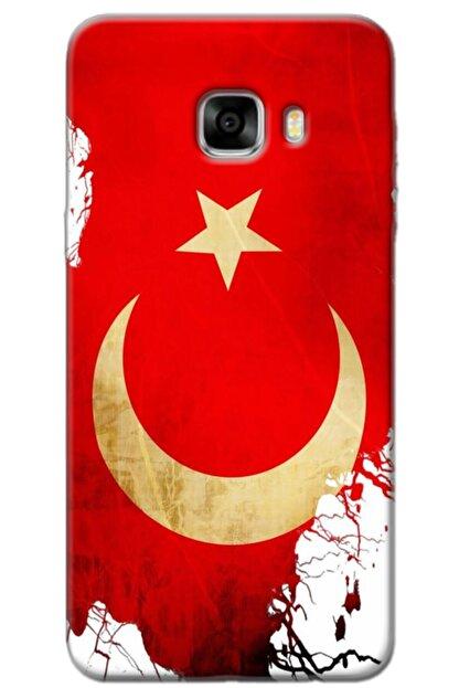 Turkiyecepaksesuar Samsung Galaxy C7 Kılıf Silikon Baskılı Desenli Arka Kapak