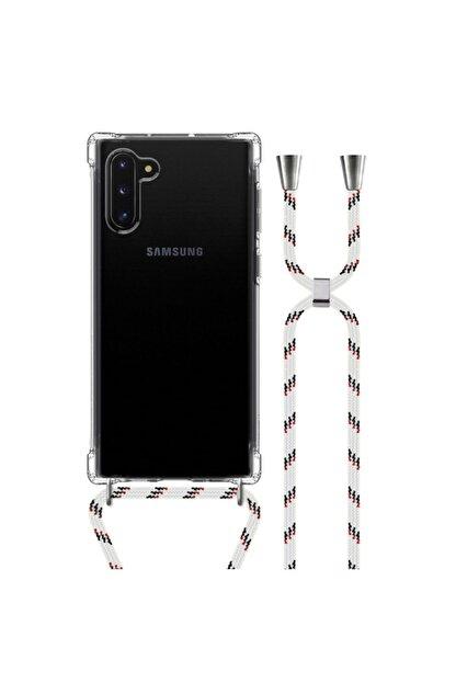 MobileGaraj Galaxy Note 10 Uzy Şeffaf Boyun Askılı Beyaz Şeritli Kılıf+kitap