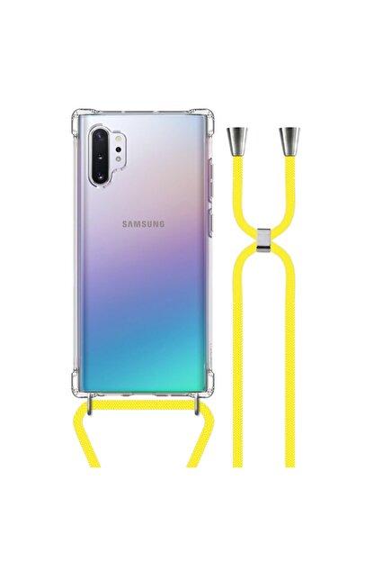 MobileGaraj Galaxy Note 10 Plus Uzy Şeffaf Boyun Askılı Sarı Şeritli Kılıf+kitap