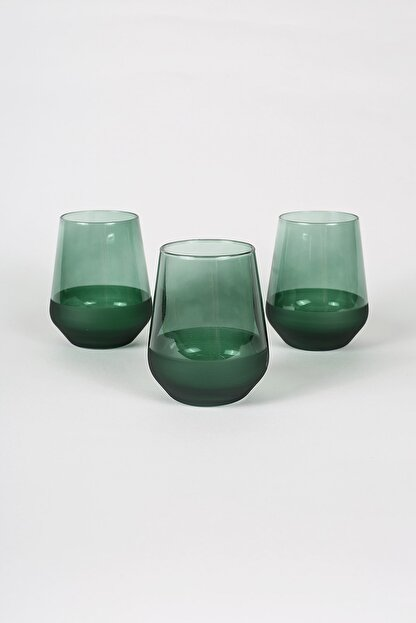 Rakle Matte 3'lü Su Bardağı Seti Yeşil 425 cc