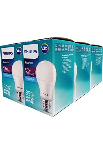 Philips Essential Led Ampul 9w-60w Beyaz Işık E27 Normal Duy 6'lı Paket Phılıps015