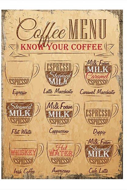 Tablomega Kahve Çeşitleri Dekoratif Mdf Tablo 35cm X 50cm